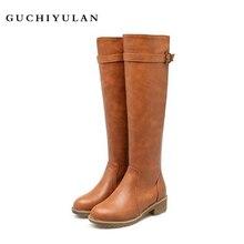 Новые дизайнерские коричневые женские облегающие Высокие Сапоги выше колена, высокие сапоги Martin на плоской подошве, женская зимняя обувь из натуральной кожи и бархата