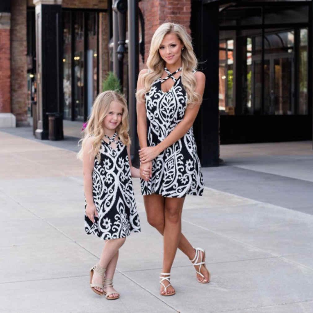 6ab347ffdcaf 2018 Family Mother Daughter Girls Princess Beach Dress family Outfits Boho Summer  Floral Black elegant Dresses