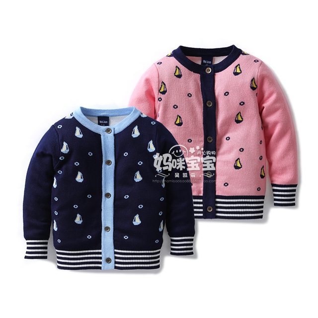 Nuevo 2015 otoño primavera bebé ropa niños sweaters tejidos escudo bebé niños / niñas knitting camisa chaqueta de punto chaqueta de la capa niños
