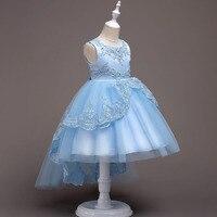 Nouveau Grils Princesse longue Queue Robe pour la fête D'anniversaire de mariage Bling Perles broderie Formelle robes robes infantil para festa