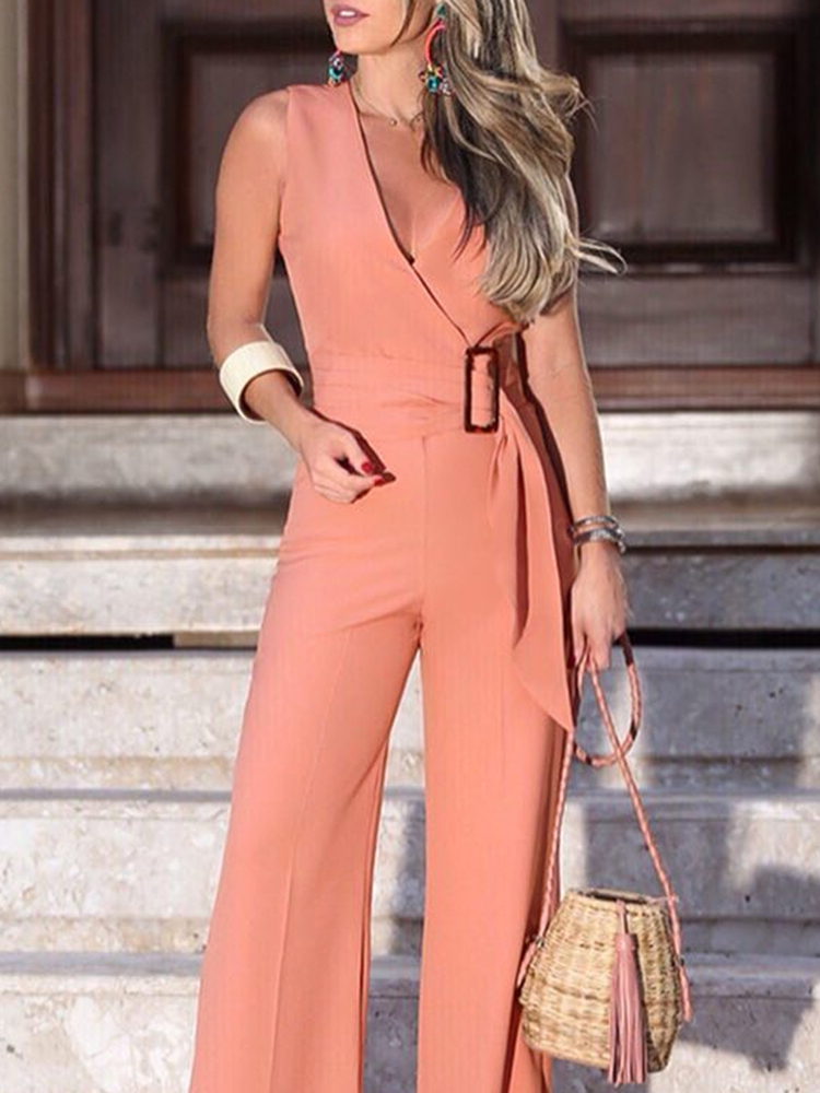 Summer Women Elegant Vacation Stylish Sleeveless Pink Casual Overalls Leisure   Romper   V-Neck Buckle Self-belt Wide Leg Jumpsuit
