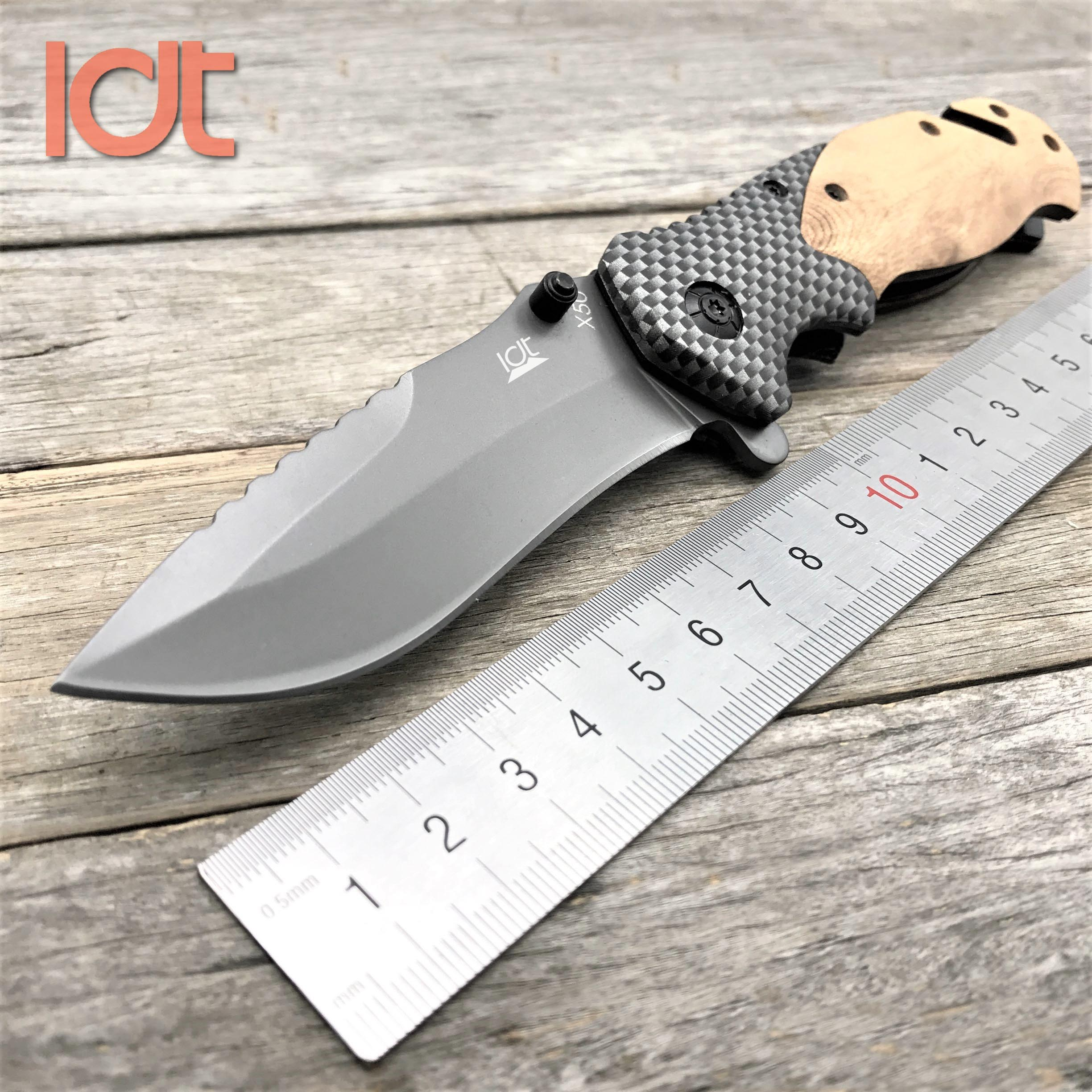LDT X50 Folding Knife 7Cr18Mov Blade Carbon Fiber Rosewood Handle Military Outdoor Pocket Knife Camping Hunting Knives EDC Tool
