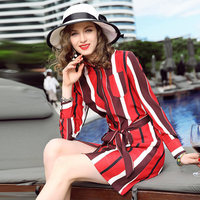 L12HT1341 New Fashion Women Spring Clothes 100 Silk Dress Print Long Sleeves Belt Striped Shirt Dress