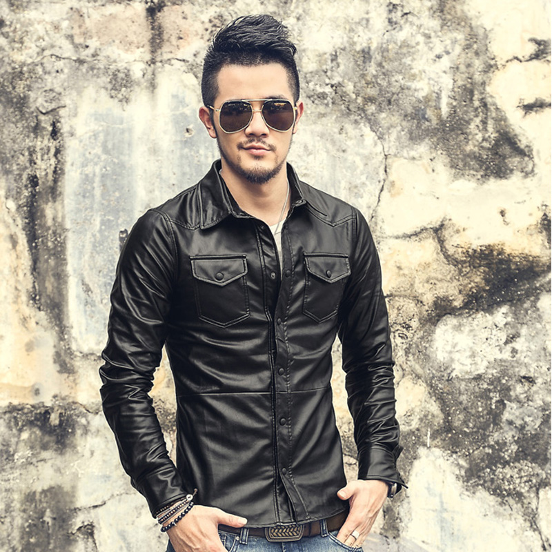 2017 men casual long sleeve shirts men solid color leather for Mens shirts with leather