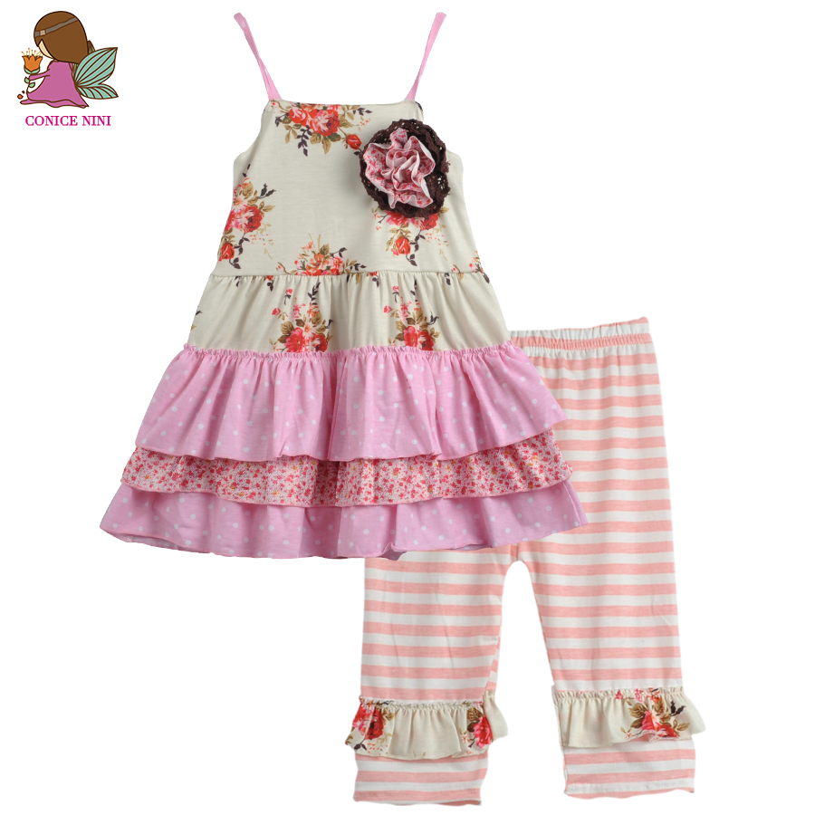CONICE NINI Brand Girl Clothing Set Cotton Double Ruffle Dress Boutique Suit Floral Summer Outfit Pink Striped Capris S073 nim bii go nini ojibwe language revitalization strategy