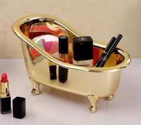 Bathroom Storage Box Basket Bathtub Shape Gold Plated Color Spa Miniature Massage Comb Cosmetics Jewelry Storage
