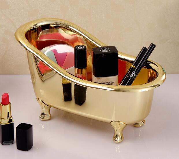 bathroom storage box basket bathtub shape goldplated color spa miniature massage comb cosmetics jewelry