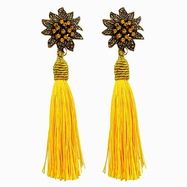 2019 new brand Vintage Long Tassel Dangle Earrings boho Ethnic Crystal Mosaic Fl