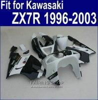 Beyaz siyah Grenaj Için Kawasaki ninja ZX7R 1996 1999 1998 2002 2003 (ücretsiz özelleştirmek) 96 97 98 99 00 01 02 03 Fairing kiti a40