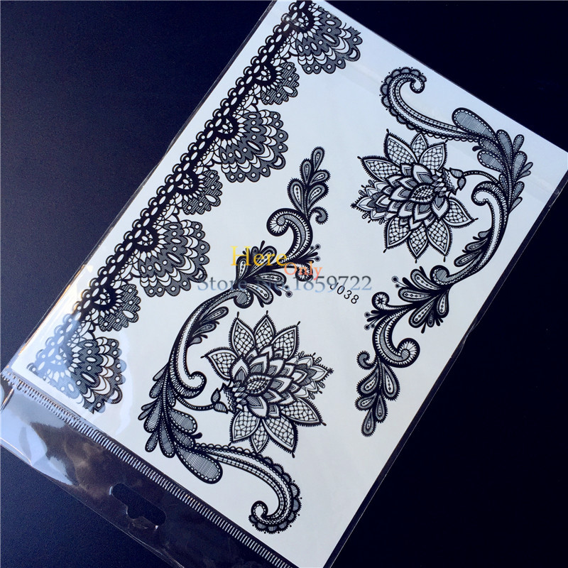 ⑤25 Style Piękne Koronki Kwiat Lotosu Ramienia Tatuaż Dla Kobiet