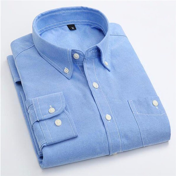 Candy Color Men's Shirt Oxford Classic Cotton Long Sleeve Business Dress Shirts Formal Social Brand Clothing Chemise Homme X154 4