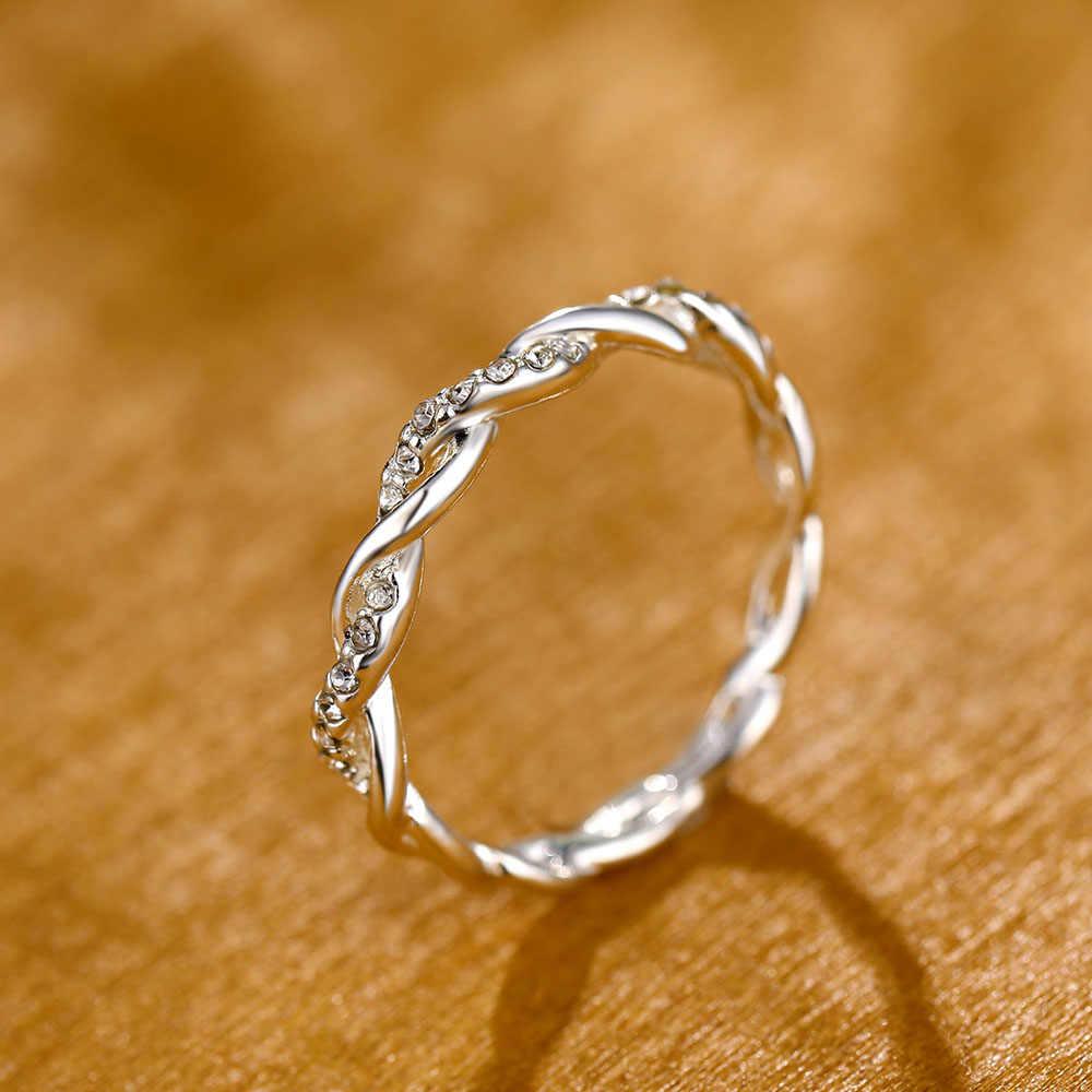 Couleur or Rose torsion classique zircon cubique Bague de fiançailles de mariage pour Femme filles cristaux autrichiens cadeau anneaux Bague Femme