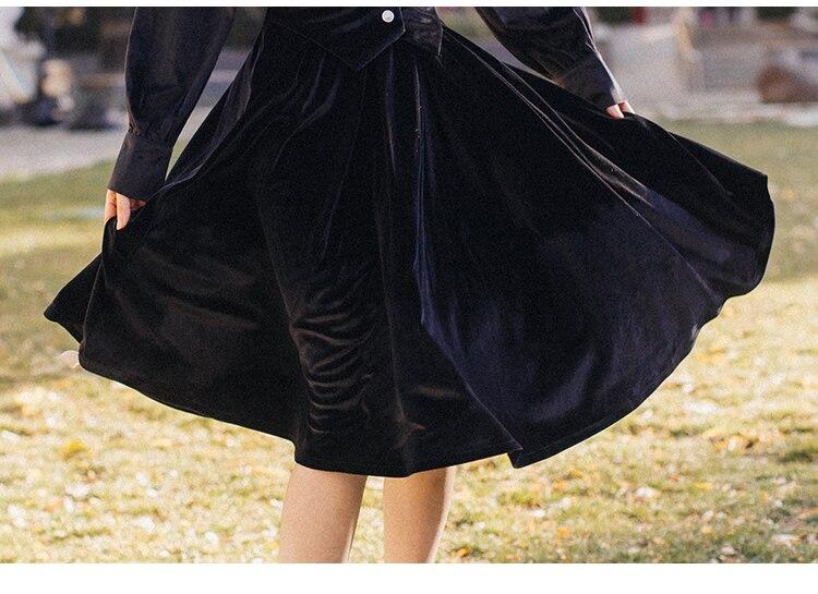 Dell'annata Gonna Il Di Autunno Inverno Pezzo Modo Camicia Due Pezzi Velluto Un E Donne Vestito 2019 Nuove Nero A Oro Set Nk8n0wXOP