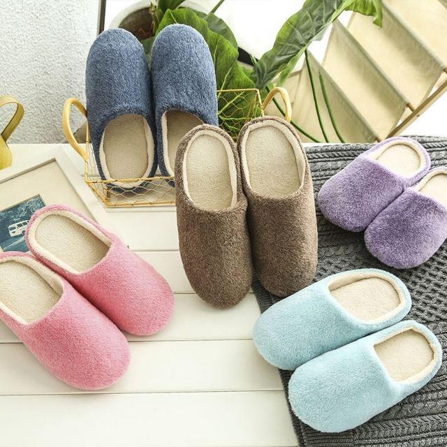 2019 Mulheres Novas Dos Homens Primavera Sólida Confortável De Pelúcia Interior Chinelos Casa Quente Sapatos Baixos Casuais Macios 5 Cores Plus Size 36-44