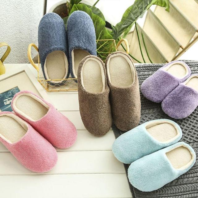 2019 New Men Women Spring Solid Comfy Plush Indoor Slippers Casual Soft Warm Home Flat Shoes 5 Colors Plus Size 36-44