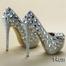 crystal rhinestone women wedding shoes white bridal shoes high heel platform female diamond Shoes
