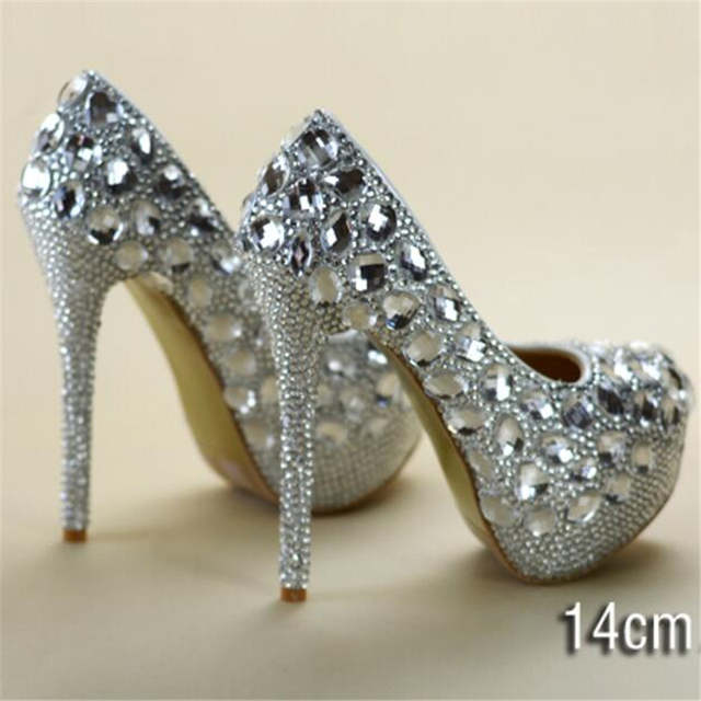 bc175e83379 8-11-14CM crystal rhinestone women wedding shoes white bridal shoes big  size 41 married high-heel shoes platform female diamond