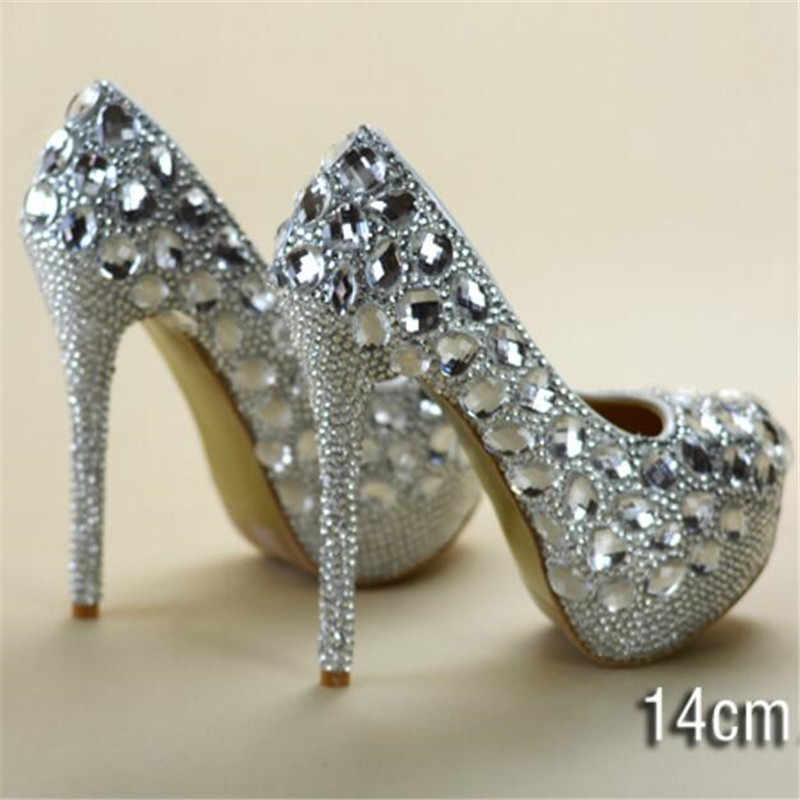 11e110b841 8-11-14CM crystal rhinestone women wedding shoes white bridal shoes big  size 41 married high-heel shoes platform female diamond