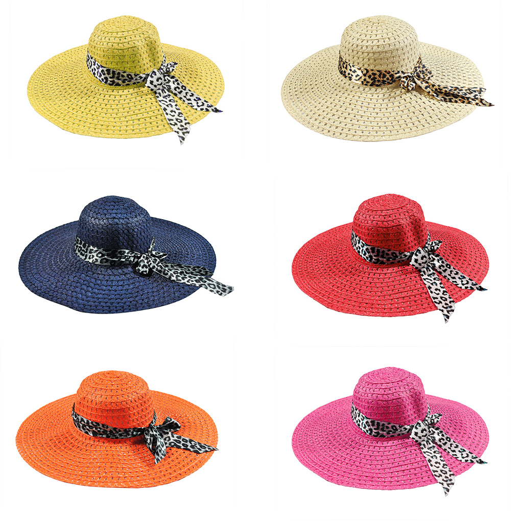 Women Bowknot Leopard Ribbon Hollow Straw Cap Large Brim Visor Summer Beach Hat