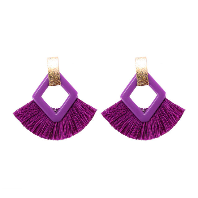 Charm Tassel Hoop Earrings For Women