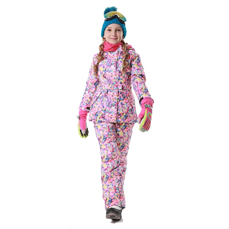 Mioigee 2018 Winter Outdoor Children Clothing Set Windproof Ski Jackets + Pants Kids Snow Sport Sets Warm Skiing Suit for Girls 2018 teenage children winter clothing set windproof ski jackets pant kids winter snow sport suits for boys outdoor warm ski sets