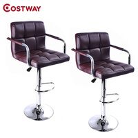 COSTWAY 2pcs PU Leather Modern Adjustable Bar Stool With Handrails Swivel Chair Bar Chair Commercial Furniture