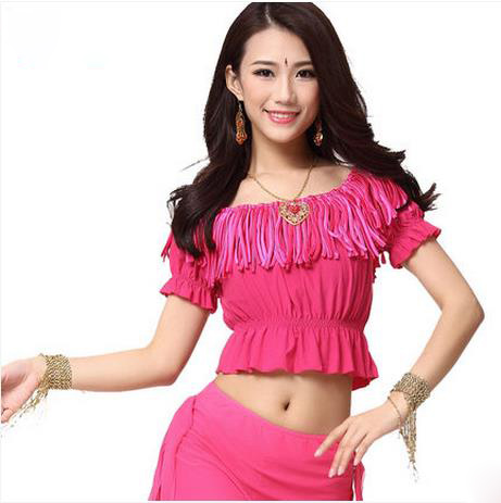 New Arrival Crystal Cotton And Mesh  Belly Dance Top Momen Tassel  Belly Dance Tops 9 Colors Sexy Tops