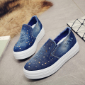 New 2016 denim women creepers spring&autumn slip on flat platform shoes women loafers fashion denims canvas flats shoes woman