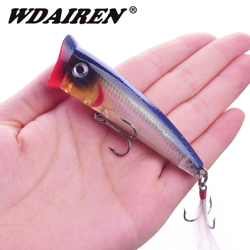 1Pcs Popper Fishing Lures Topwater Floating Bass Sea Pesca Crankbait Swimbait Wobbler Feather Treble hook Fishing Tackle WD-571