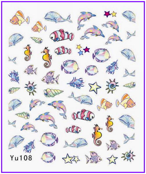 Water Transfers Stickers Nail Decals Stickers CARTOON DOLPHIN FISH SHELL BRA SHOES POODLE JEWELRY BOX  YU108-119