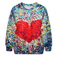 Women Hoody 3D Print Floral Red Heart Hoodies Winter Kpop Cotton Tracksuit Suit Casual Tracksuits