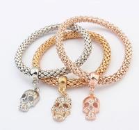 SPX7072 Hot Sale Nationality Strings Beaded Multilayer Charm Color Bohemian 3PCS Snake Chain Skull bracelets & bangles Gifts