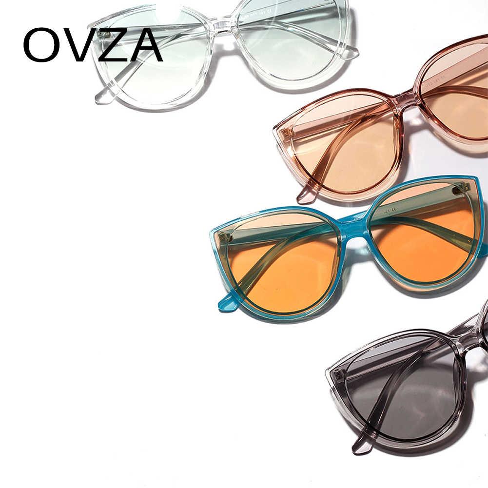 OVZA Retro óculos de Sol Das Mulheres Designer de Marca óculos de Sol Olho De Gato Transparente Vintage Frame Óculos Grandes S0072 Gradiente de Alta Qualidade