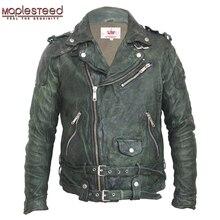 MAPLESTEED Vintage Gegerbtem Leder Jacke Schwarz Rot Grün Dünne Leder Mantel Winter herren Motorrad Jacke Moto Biker Kleidung 145