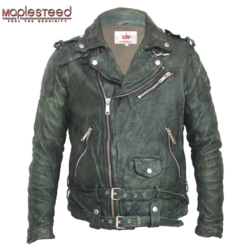 MAPLESTEED Vintage Tanned Leather Jacket Black Red Green Slim Leather Coat Winter Men's Motocycle Jacket Moto Biker Clothing 145
