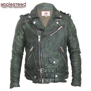 Image 1 - Maplesteed vintage curtido jaqueta de couro preto vermelho verde fino casaco de couro inverno jaqueta motociclo moto motociclista roupas 145
