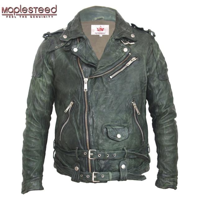 Maplesteed vintage curtido jaqueta de couro preto vermelho verde fino casaco de couro inverno jaqueta motociclo moto motociclista roupas 145