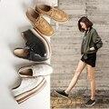 Mujer zapatos de plataforma de suela gruesa dama zapatos de estilo Británico retro estilo casual mujeres zapatos Bullock zapatos de cuero de la borla de las mujeres