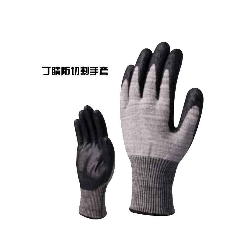 Semi nitrile coating anti cutting gloves puncture resistant oil anti abrasion, tear oil free comfortable cheap nitrile gloves white nylon knitted hands protection gloves white mechanic construction industry