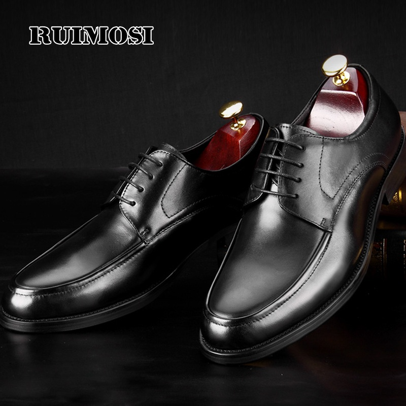 RUIMOSI Luxury Round Toe Man Formal Dress Shoes Genuine Leather Handmade Party Oxfords Men's Derby Wedding Bridal Footwear MG69