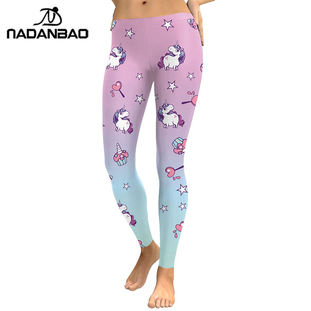 NADANBAO 2019 Unicorn Party Series Leggings Women Colorful Digital Print Sexy Plus Size Leggins Casual Workout Fitness Pants 5
