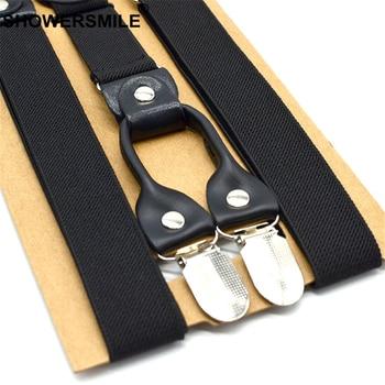 SHOWERSMILE Mens Suspenders Braces Black Wedding Male Shirt Suspenders for Adults Real Leather Men Bowtie Suspender Pants 120cm 2