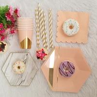 44Pcs/Set Pink Blue Foil Gold Party Supplies Disposable Tableware Sets Paper Plate Cups Towel For Gender Reveal Wedding Decor
