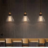 Retro Vintage Geometric triangle Glass Lampshade Pendant Light E27 Glass Pendant Lamp for Restaurant Coffee bar Clothes shop