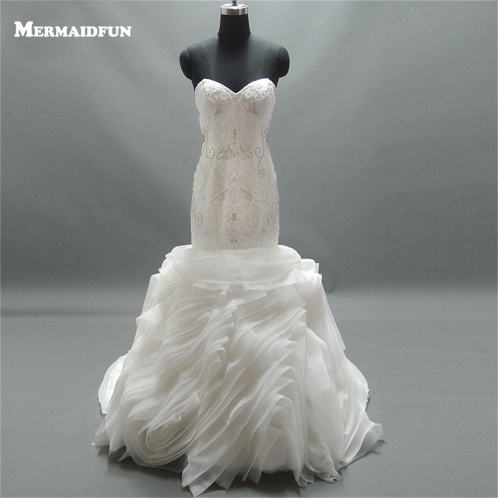 2019 Real Photos Mermaid Luxury Beaded Sweetheart Cloud Lace up Back Wedding Dresses Wedding Gown