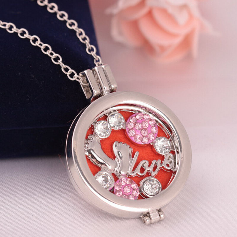 (3Pdas Free)High Quality Silver Love Baby Aromatherapy Crystal Locket Pendant Perfume Fragrance Essential Oil Diffuser Necklace