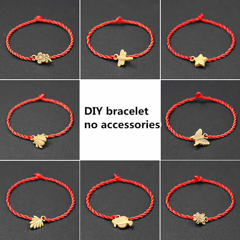 2PC Fashion Red Thread String Bracelet Diy jewellery Lucky Black adjustable Handmade Rope Bracelet for Women Men Jewelry Lover
