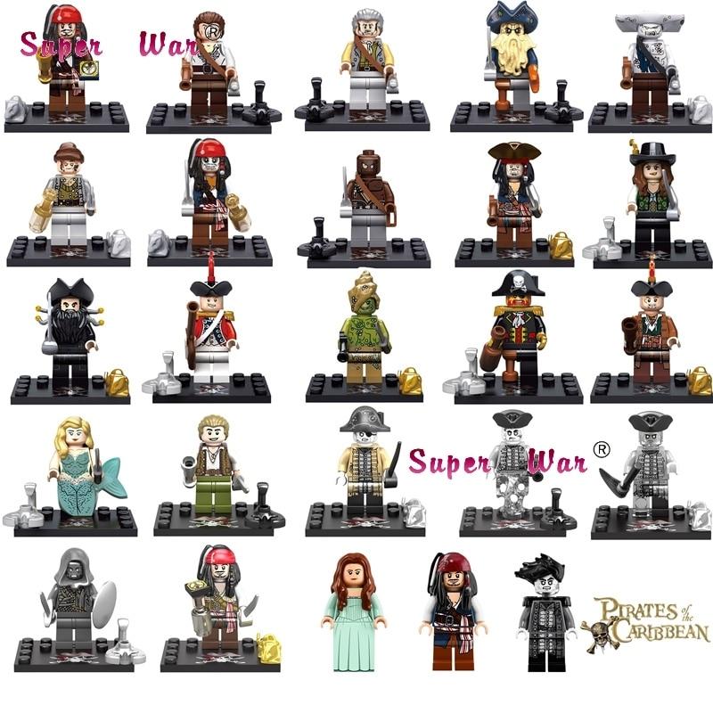 1PCS Captain Pirates Of The Caribbean Jack Sparrow Elizabeth Mermaid David Building Blocks Models Bricks Toys For Children Kit