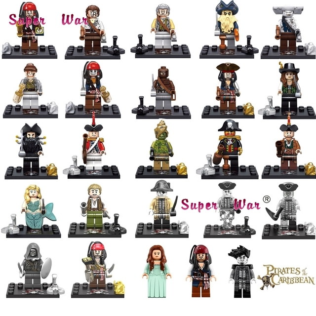 1PCS Captain Pirates of The Caribbean Jack Sparrow Elizabeth Mermaid David building blocks models bricks toys for children kit