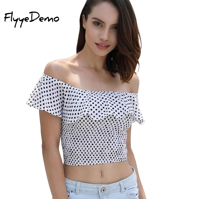 Fashion Women Off Shoulder <font><b>Polka</b></font> <font><b>Dot</b></font> Ruffles Blouse Tops Summer White Black <font><b>Blue</b></font> Sleeveless Mini <font><b>Shirt</b></font> Casual Blouse Loose Top image